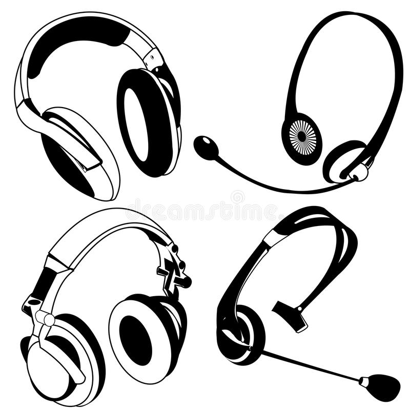 Svarta symboler för Headphone stock illustrationer