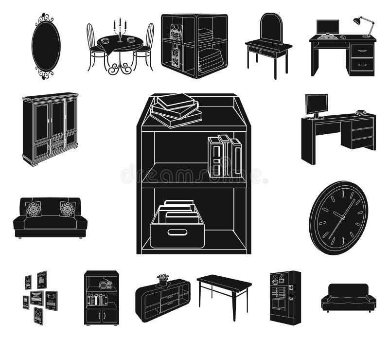 Svarta symboler för möblemang och för inre i uppsättningsamlingen för design Rengöringsduk för materiel för symbol för vektor för stock illustrationer