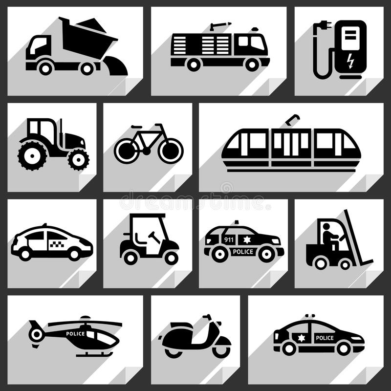 Svarta symboler för transport royaltyfri illustrationer