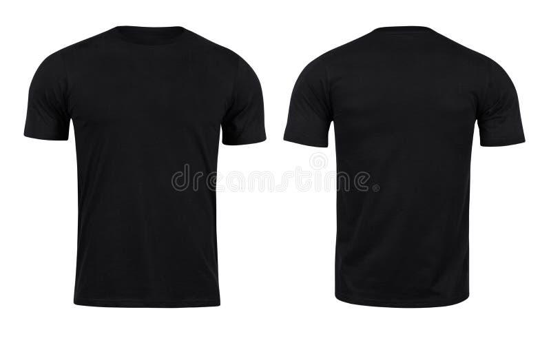 Svarta T-tröja beklär och använder tillbaka för design som isoleras på vit bakgrund arkivbild