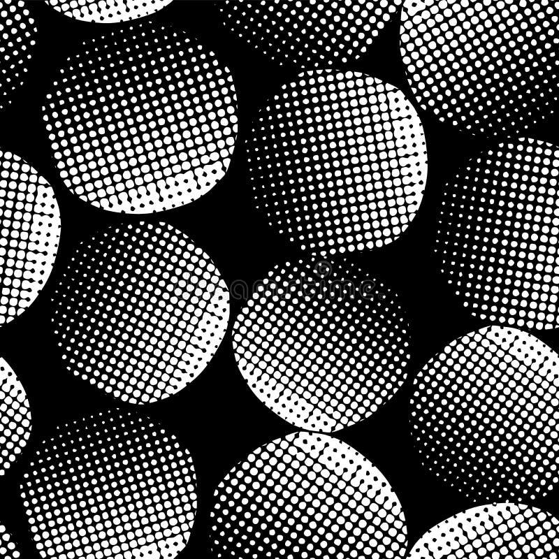 Svarta texturerade cirklar för abstrakt monokrom sömlös vektorbakgrund Vitprickar på svart bakgrund abstrakt geometriskt stock illustrationer