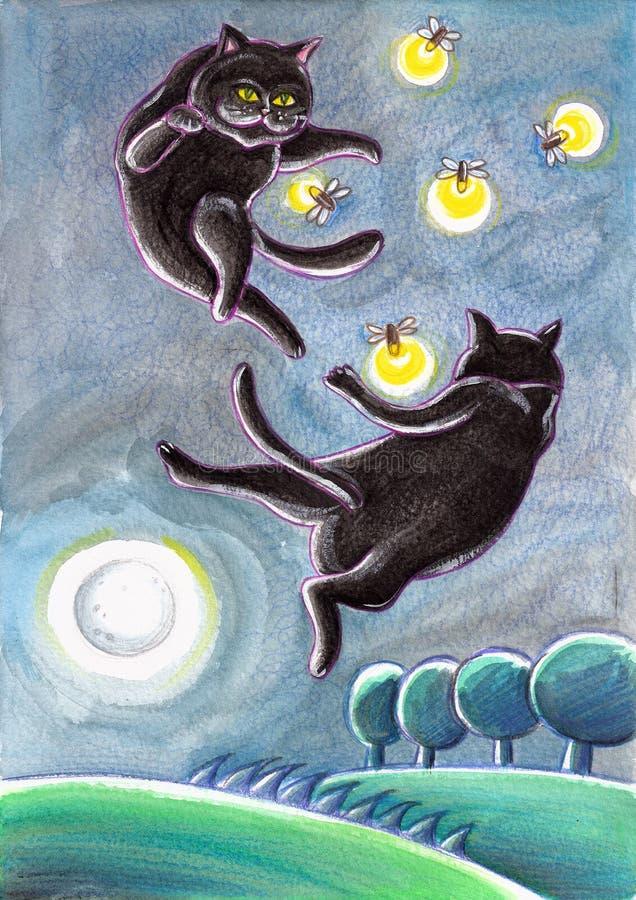 Svarta tillfälliga katter som jagar eldflugor stock illustrationer