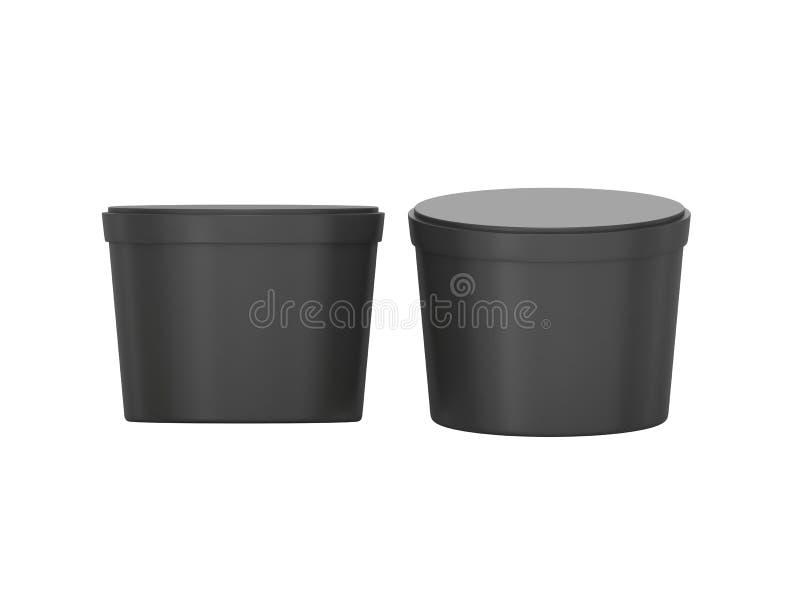Svarta tomma korta badar den plast- behållaren för mat som förpackar med cli stock illustrationer