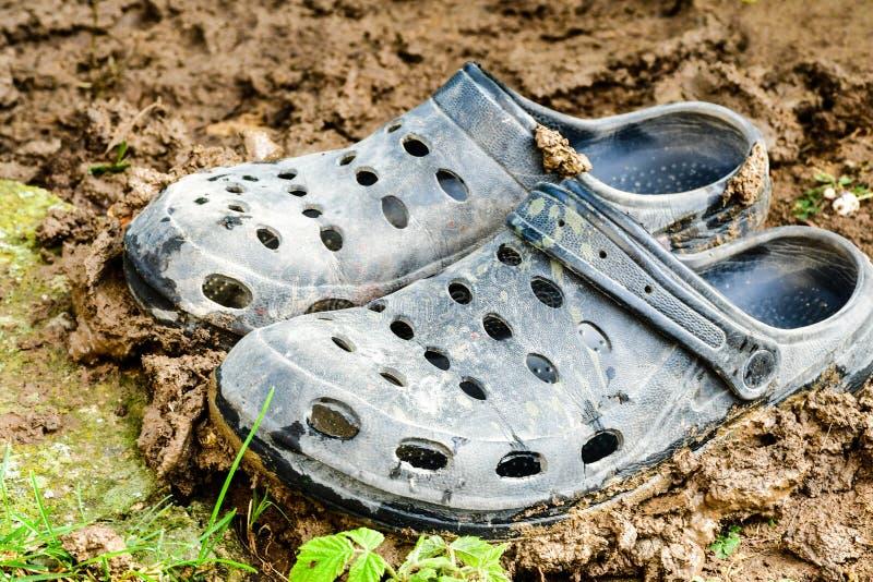 Svarta trädgårds- skor av crocsstil royaltyfria bilder