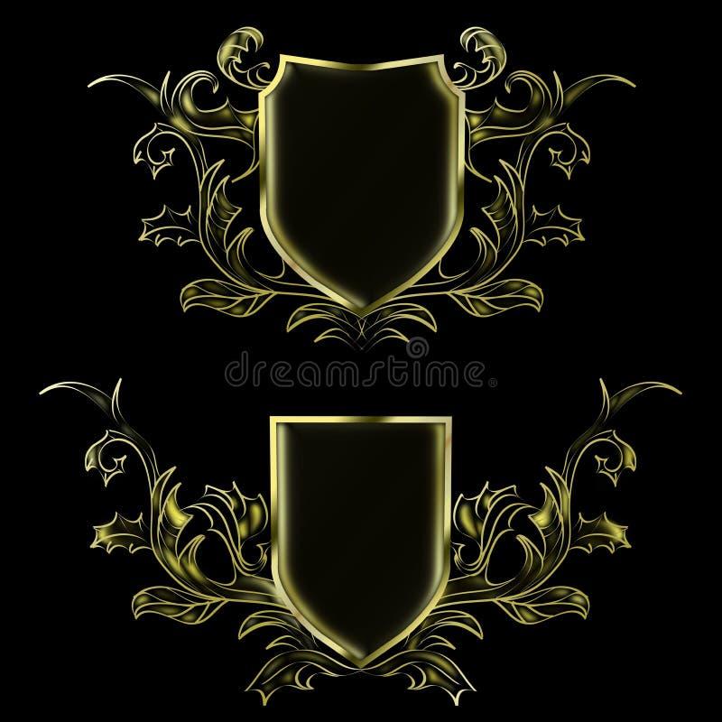 Svarta två och guld- abstrakta modeller som förlägger logoen vektor illustrationer