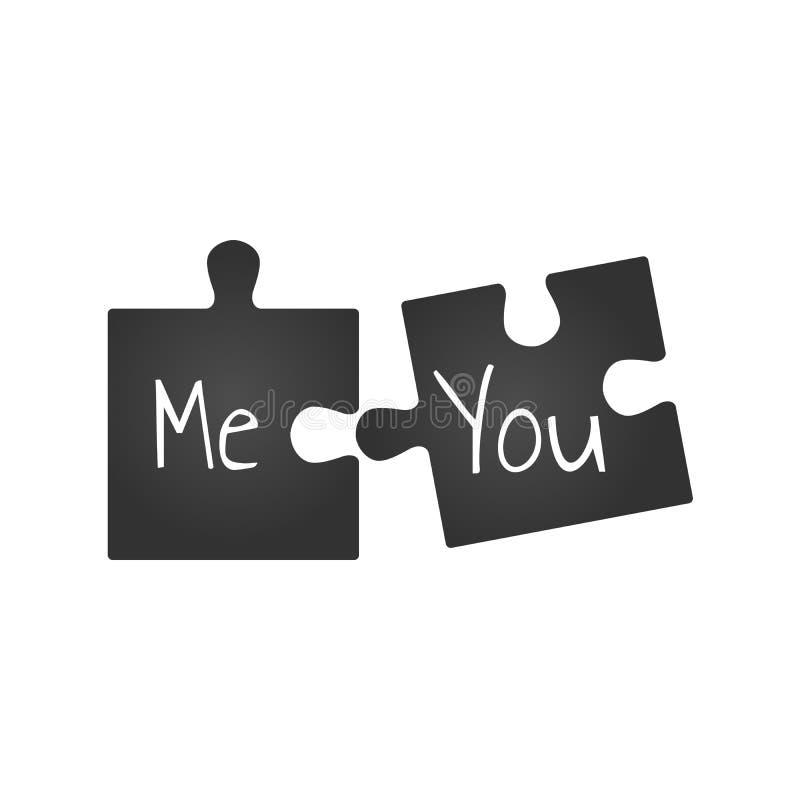 Svarta två pusselstycken Dig och mig romantisk illustration, förhållandebegrepp isolerad knapphandillustration skjuta s-startkvin stock illustrationer
