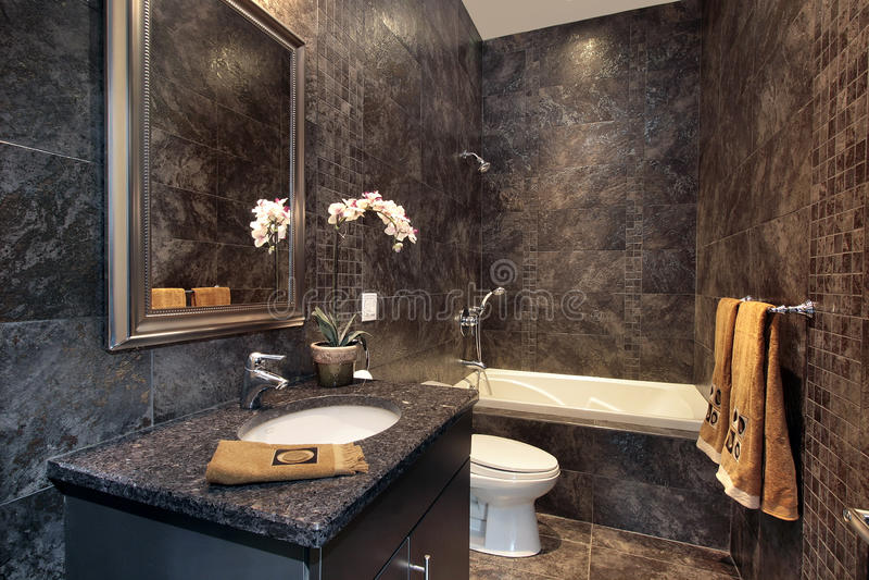 svarta väggar för granitpulverlokal royaltyfria foton