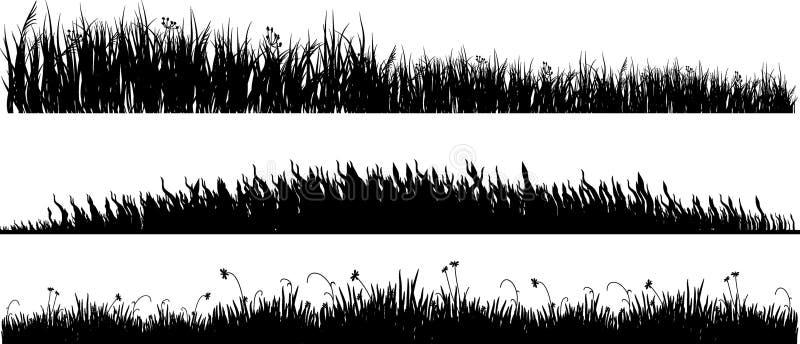 svarta variants för gräs tre vektor illustrationer