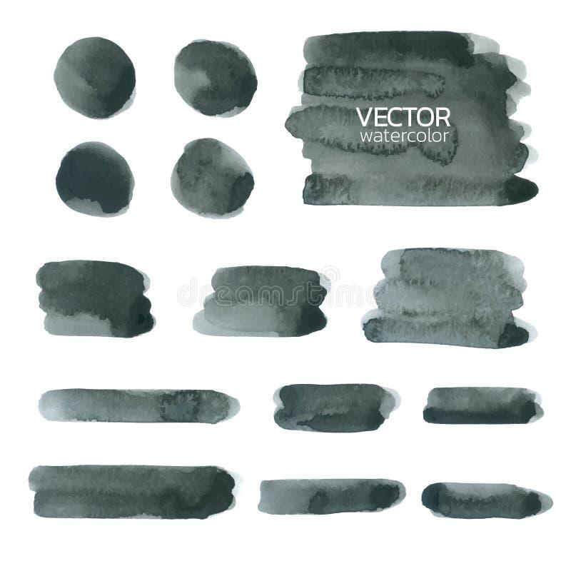 Svarta vattenfärgborsteslaglängder Uppsättning av vektorborsten stock illustrationer