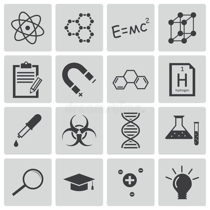Svarta vetenskapssymboler för vektor vektor illustrationer