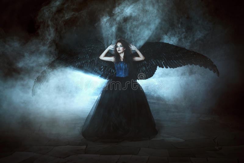 svarta vingar för ängel royaltyfria bilder