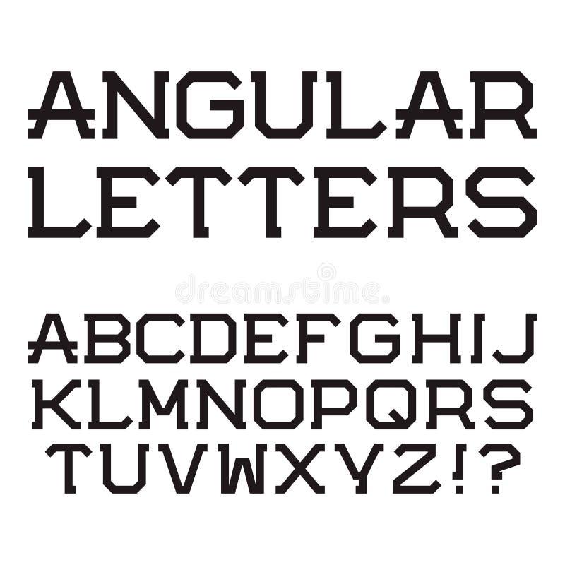 Svarta vinkelformiga versalar Stilfull stilsort latinsk alph vektor illustrationer