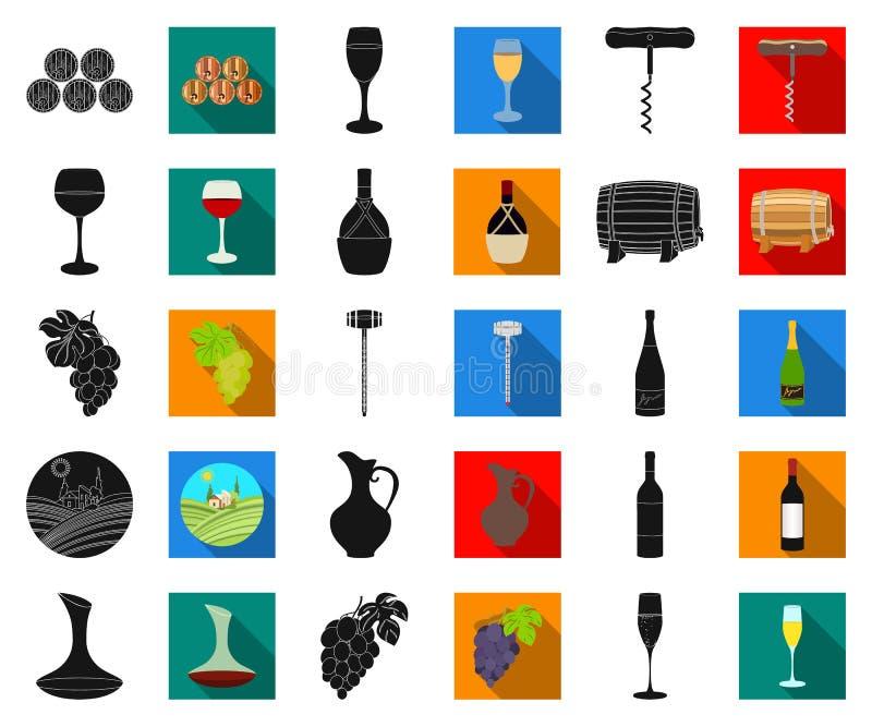 Svarta vinprodukter, plana symboler i den fastställda samlingen för design Utrustning och produktion av vinvektorsymbolet lagerfö stock illustrationer