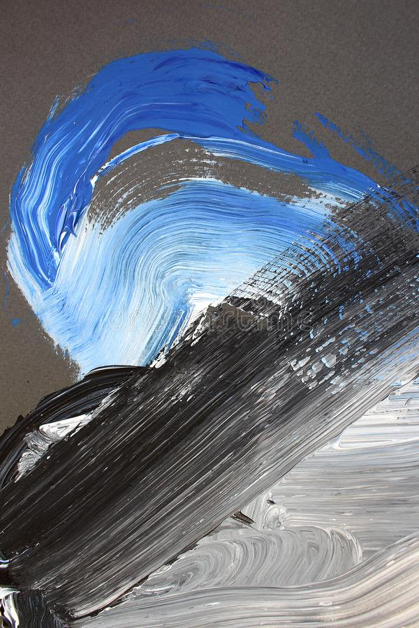 Svarta vita borsteslaglängder på kanfas abstrakt konstbakgrund F?rgtextur Fragment av konstverk abstrakt kanfasm?lning vektor illustrationer