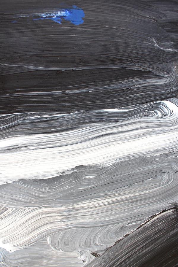 Svarta vita borsteslagl?ngder p? kanfas abstrakt konstbakgrund F?rgtextur Fragment av konstverk abstrakt kanfasm?lning stock illustrationer