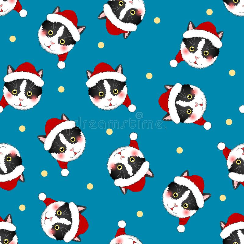 Svarta vita Cat Santa Claus på bakgrund för indigoblå blått också vektor för coreldrawillustration stock illustrationer
