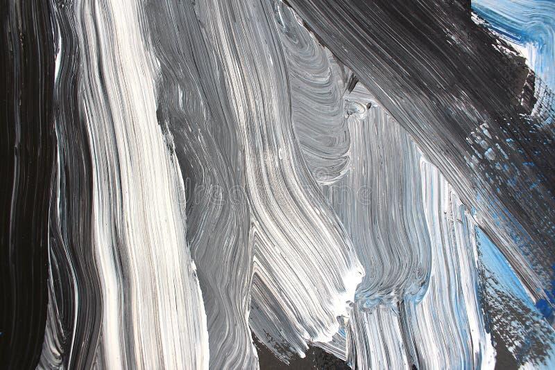 Svarta vita färger på kanfas abstrakt konstbakgrund Färgtextur Fragment av konstverk abstrakt kanfasmålning vektor illustrationer