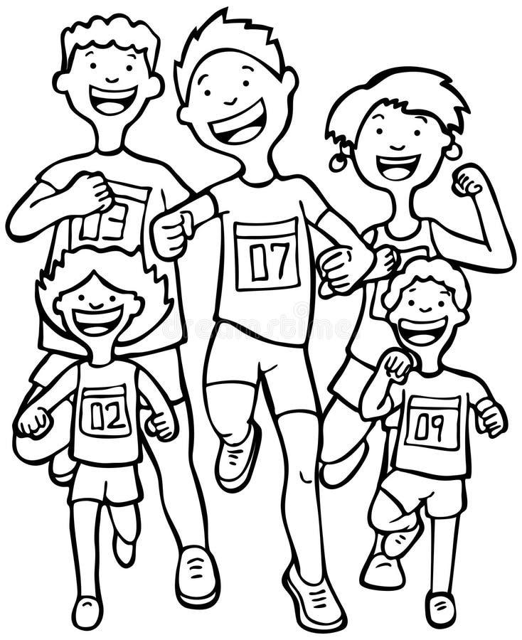 svarta vita maratonlöpare stock illustrationer