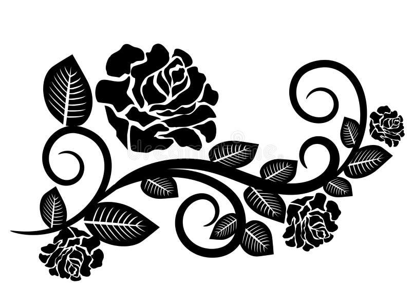Svarta vita Rose Flowers vektor illustrationer