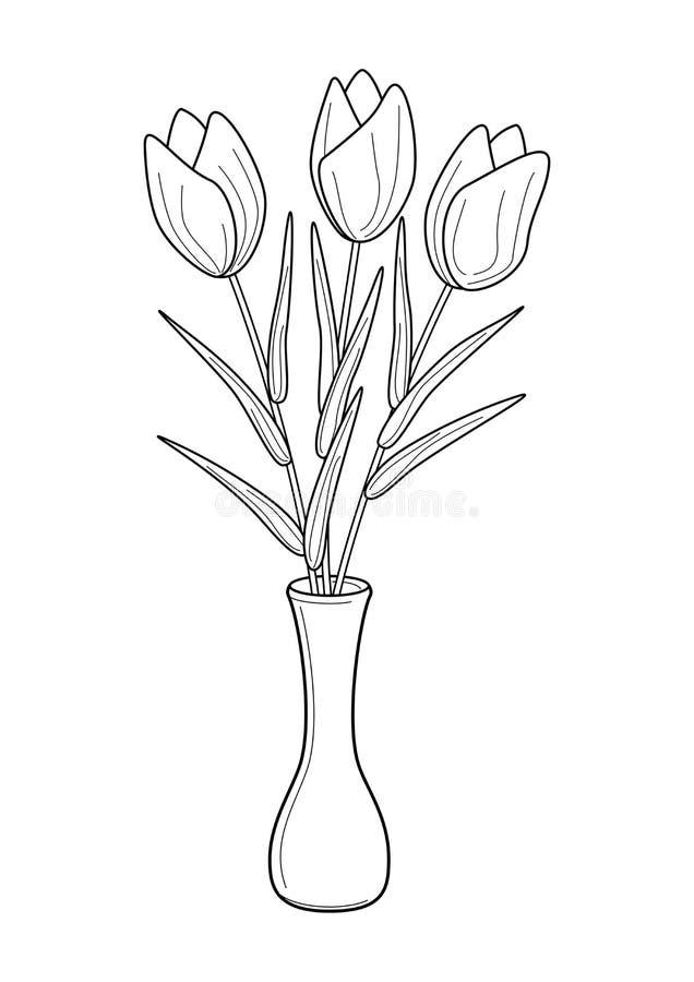 Svarta vita tulpan blommar och vasillustrationvektorn royaltyfri illustrationer