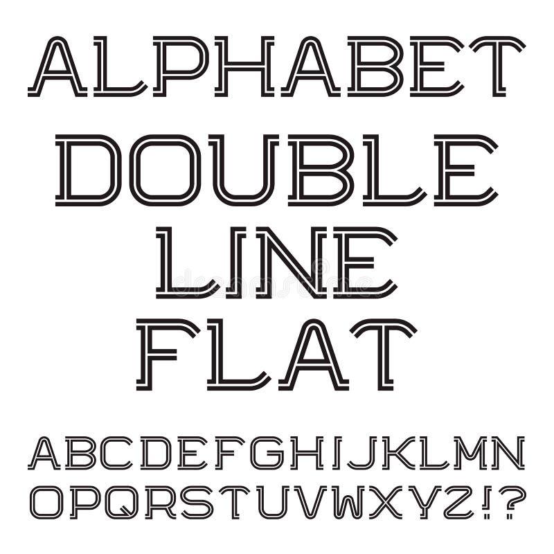 Svarta vita versalar Dubbel linje lägenhetstilsort stock illustrationer