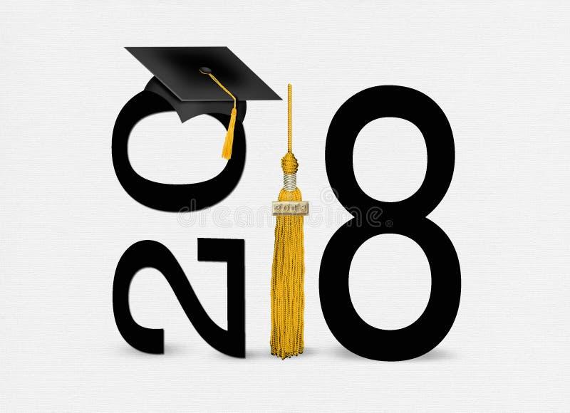 Svartavläggande av examenlock 2018 med den guld- tofsen vektor illustrationer
