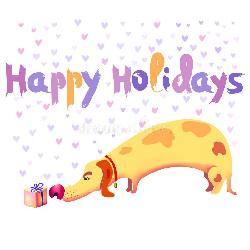 Svarten boxas med en röd pilbåge Hund som sniffar en härlig gåva Lycklig ferievektorillustration stock illustrationer