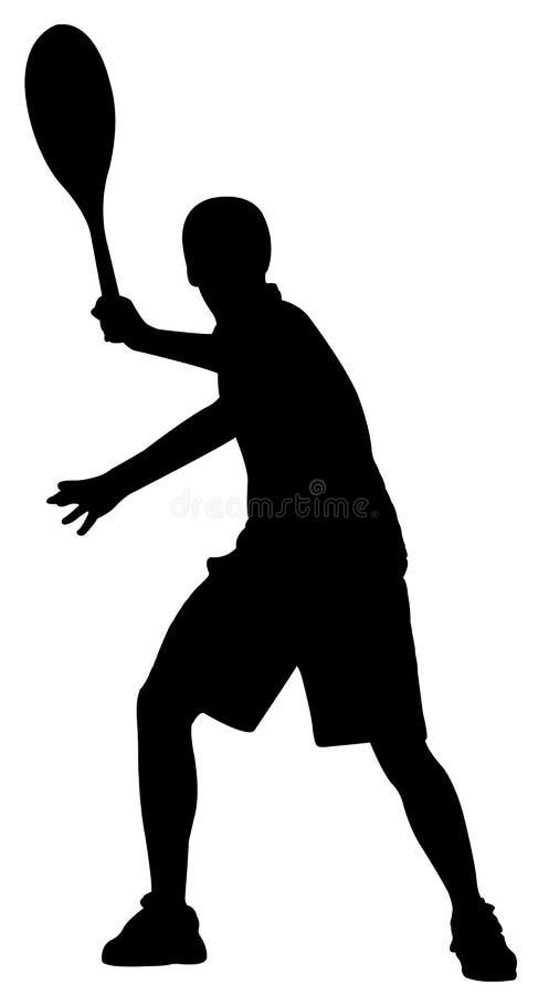 Silhouette av tennisspelaren royaltyfri illustrationer