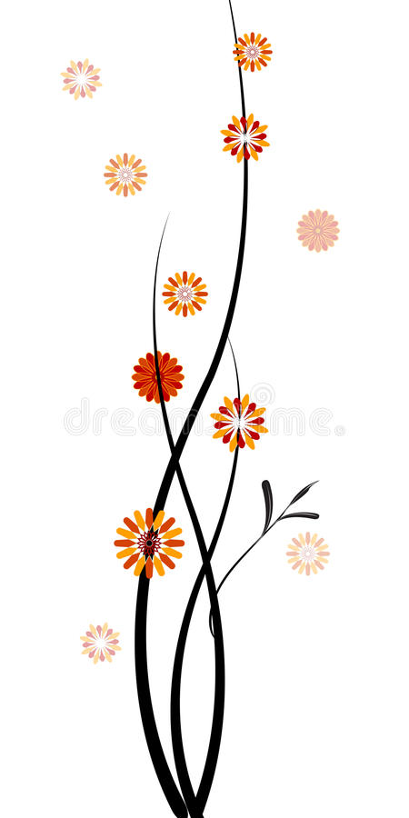Ris med blommor stock illustrationer