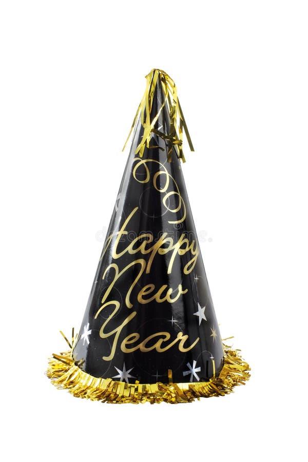Svarten och det guld- lyckliga nya året festar hatten royaltyfria foton