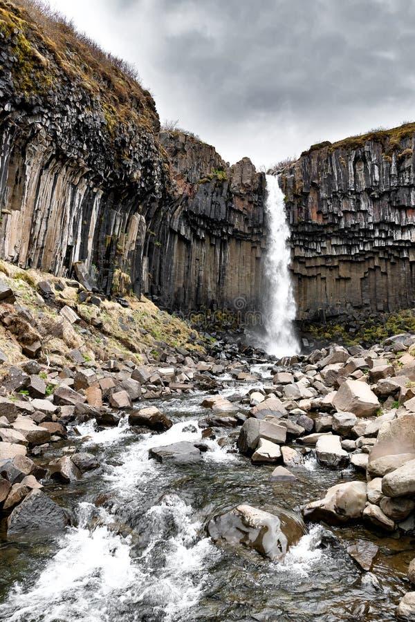 Svartifoss, cascada negra, Islandia fotos de archivo