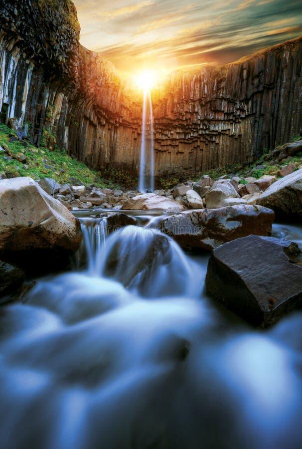 Svartifoss waterfall with basalt pillars, Iceland royalty free stock photo
