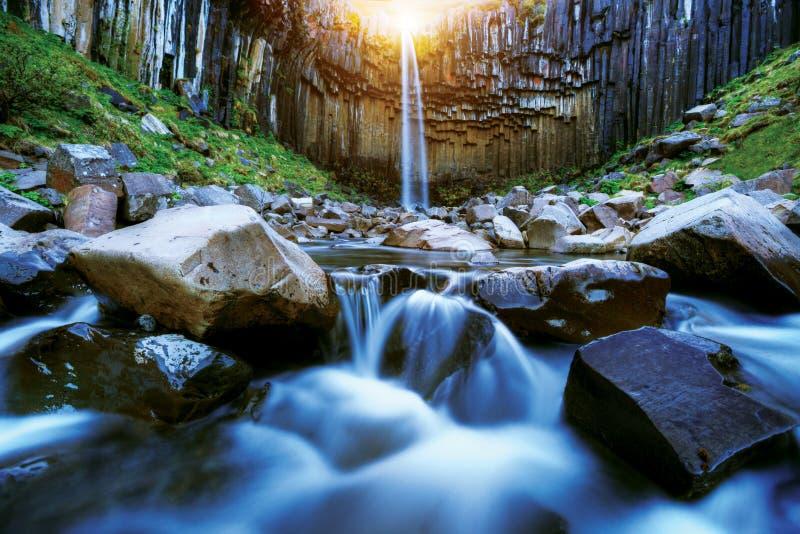 Svartifoss waterfall with basalt pillars, Iceland stock photography