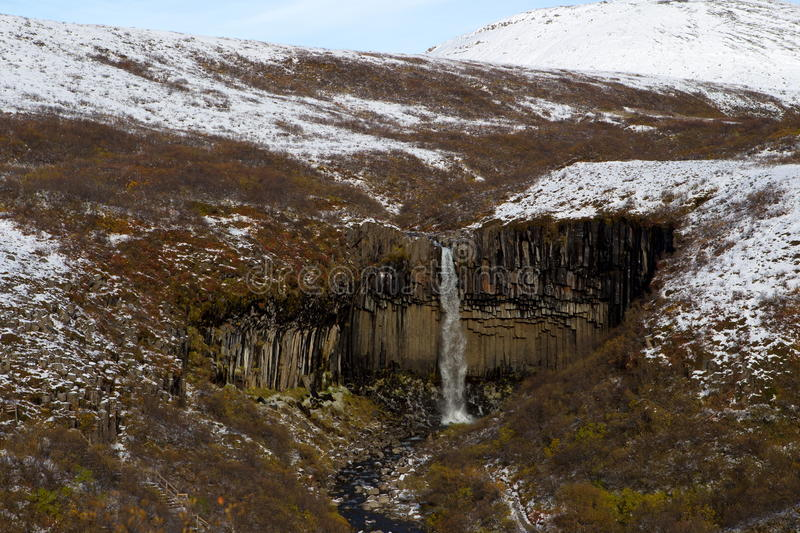The Svartifoss Is A Waterfall In Skaftafell National Park Royalty Free Stock Image