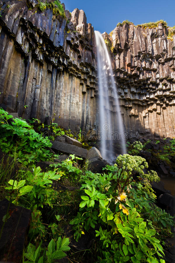 Svartifoss. A waterfall surrounded by dark lava basalt columns in in Skaftafell National Park Iceland stock photos