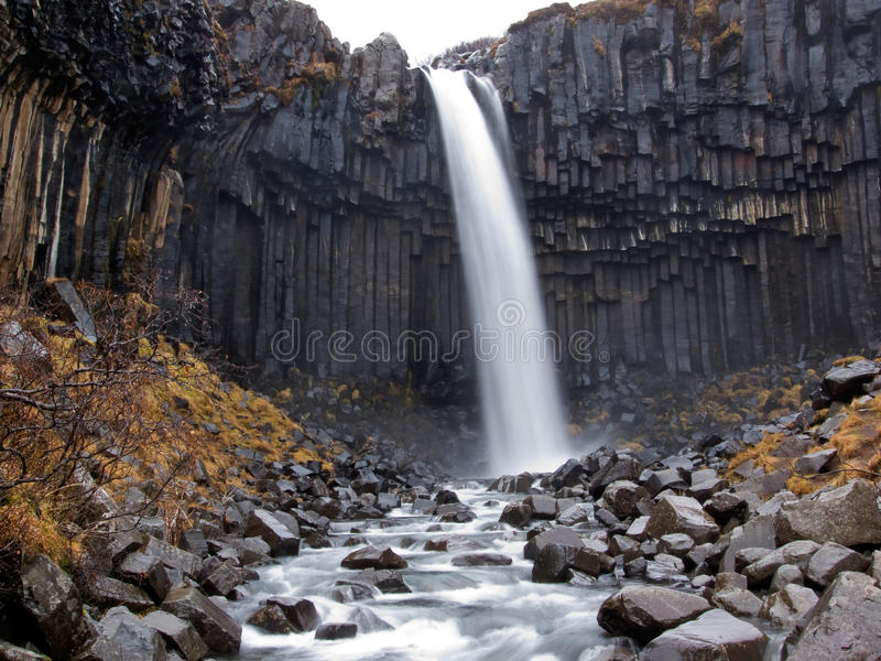 Svartifoss waterfall, volcanic Iceland royalty free stock photo