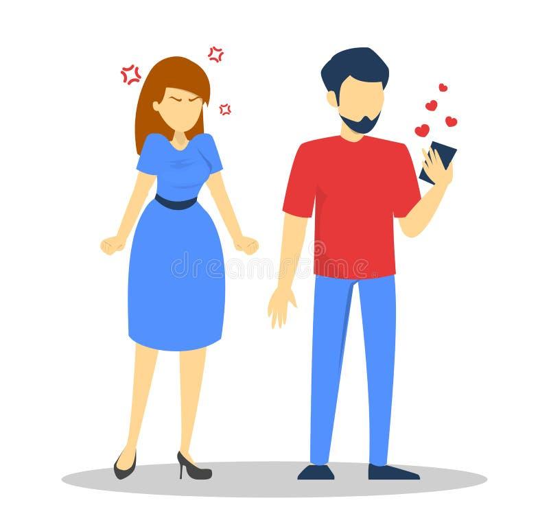 Svartsjuk kvinna som ser att prata för pojkvänförälskelse stock illustrationer