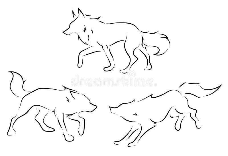Svartspaltvargar på vit bakgrund royaltyfri illustrationer