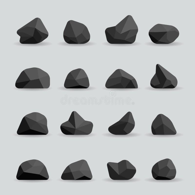 Svartstenar i plan stilvektor stock illustrationer