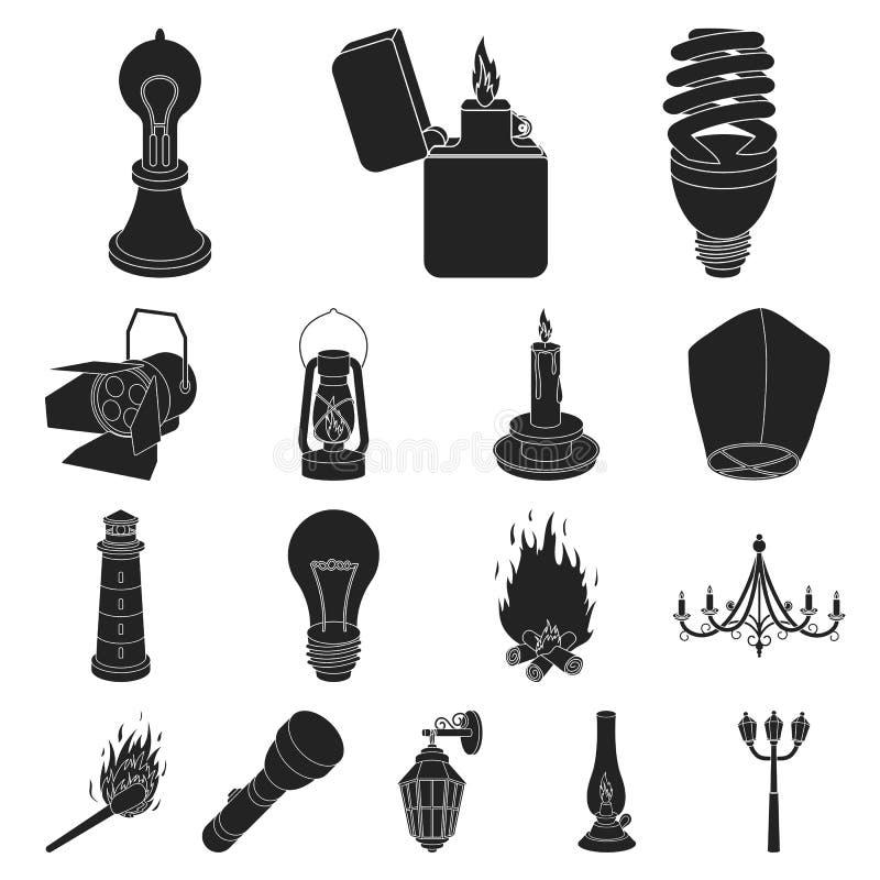 Svartsymboler för ljus källa i uppsättningsamlingen för design Ljus- och utrustningvektorsymbolet lagerför rengöringsdukillustrat royaltyfri illustrationer