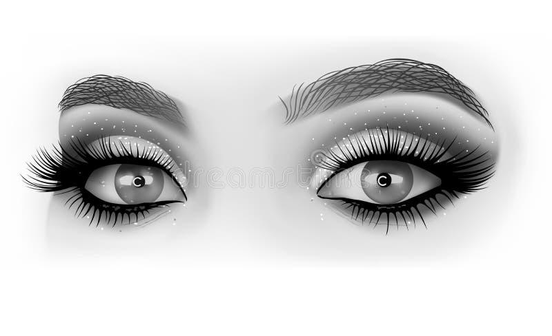 Svartvit ögonmakeup stock illustrationer