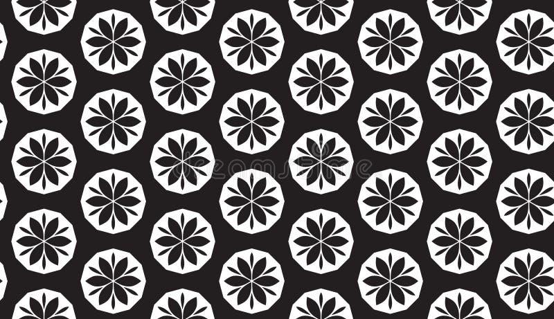Svartvit abstrakt geometrisk blommavektormodell vektor illustrationer