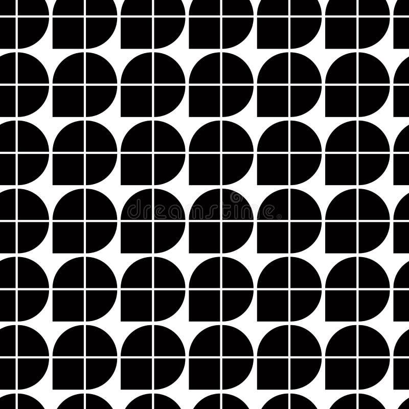 Svartvit abstrakt geometrisk sömlös modell, kontrast il stock illustrationer