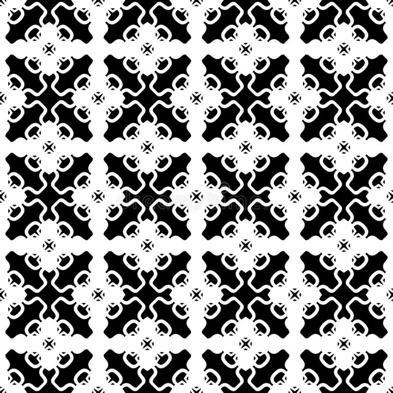 Svartvit abstrakt geometrisk sömlös modell, vektor Design vektor illustrationer