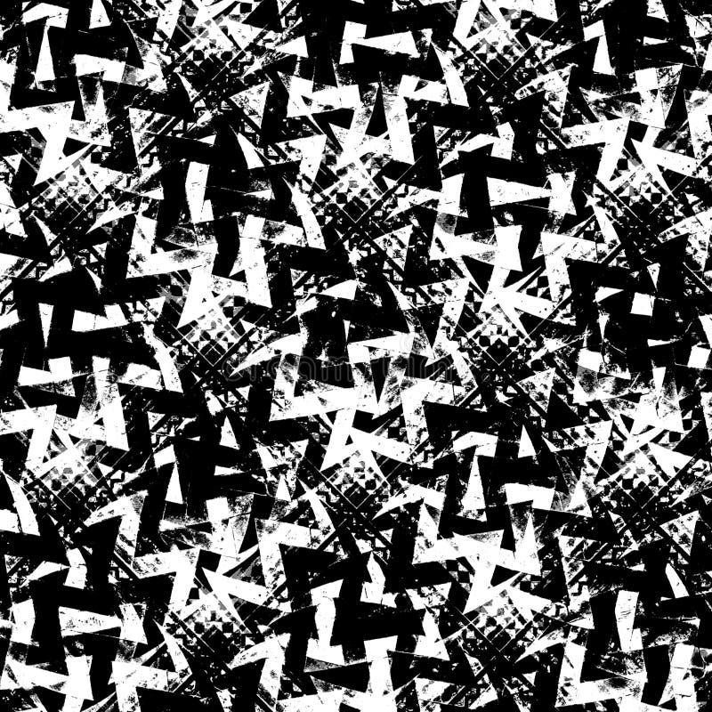 Svartvit abstrakt Grungemodell vektor illustrationer