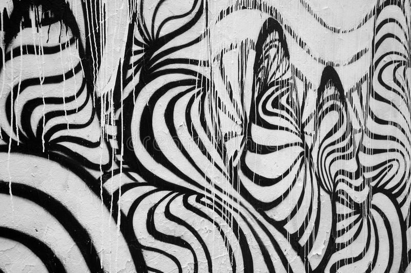 Svartvit abstrakt målning arkivfoton