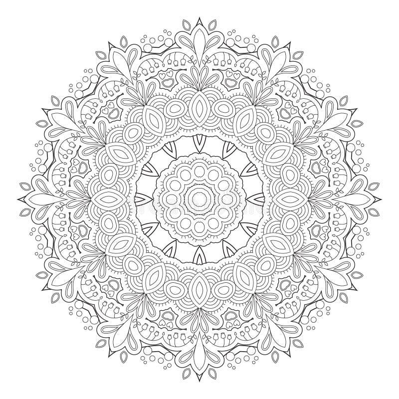 Svartvit abstrakt modell, mandala royaltyfri illustrationer