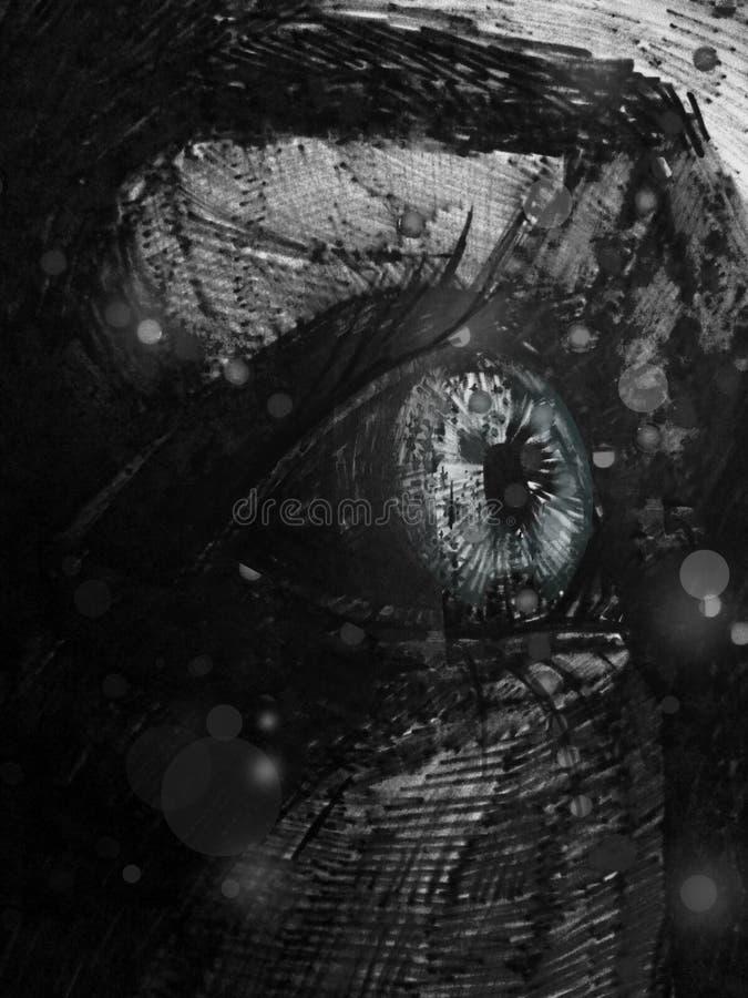 Svartvit abstraktion av det mänskliga ögat vektor illustrationer