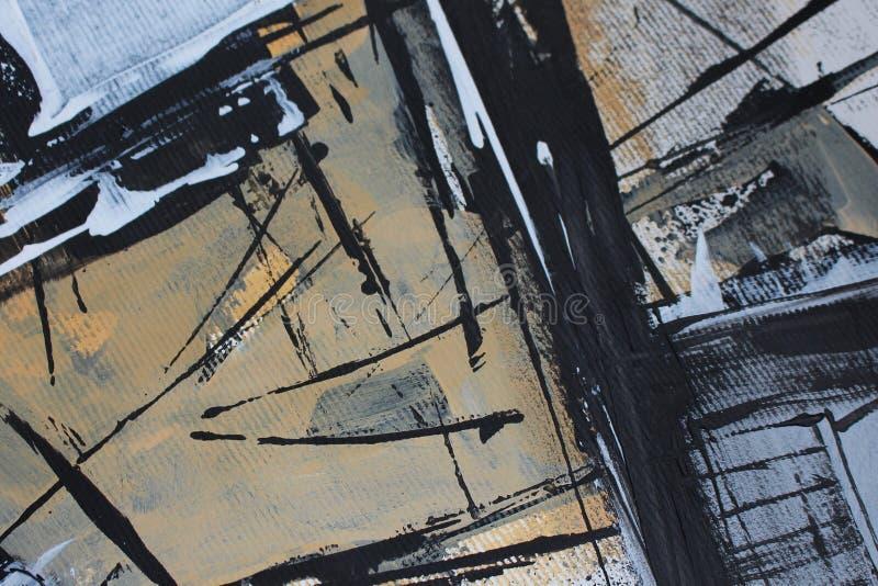 Svartvit abstraktion med akrylmålarfärger royaltyfri bild
