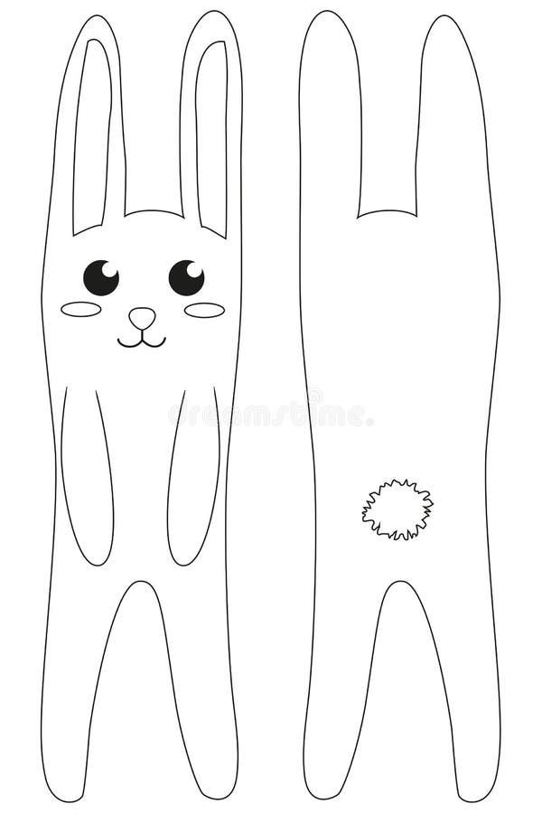 Svartvit affisch för vit kanin royaltyfri illustrationer